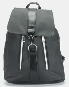Utopia Black Zip Detail Backpack