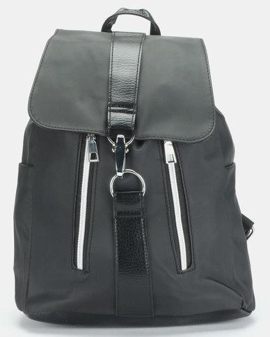 Utopia Black Zip Detail Backpack