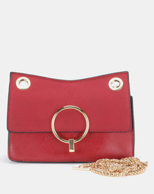 Utopia Chain Strap Clutch Bag Deep Red