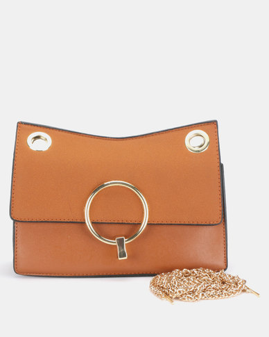 Utopia Chain Strap Clutch Bag Tan