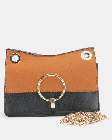 Utopia Chain Strap Clutch Bag Tan/Black