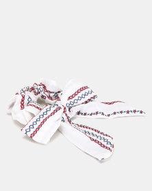 Utopia Stitch Detail Bow Hair Tie White