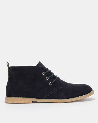Utopia Navy Casual Lace Up Boot