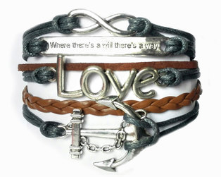 Urban Charm Where there's a Will Infinity Bracelet - Charcoal & Brown