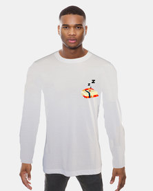Casa di Cincanra Sleeping Sushi Long sleeve T-shirt sleeping Tee White