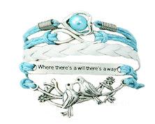 Urban Charm Lovebirds Infinity Bracelet - Turquoise & White