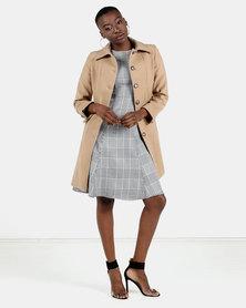 HEMISA - Burberry inspired, wool melton, Joshna coat - Camel