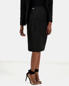 HEMISA - Isabelle, cashmere wool, front pleat pencil skirt - Charcoal