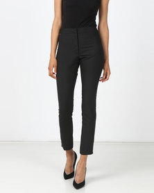 HEMISA - Markle cashmere wool, slim cut trousers with side slit - Charcoal