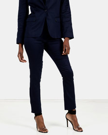 HEMISA - Markle cotton sateen slim cut trousers - Navy
