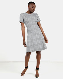 HEMISA - Karen houndstooth fit and flare dress - Black & White