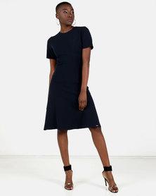 HEMISA - Karen navy fit and flare dress - Navy