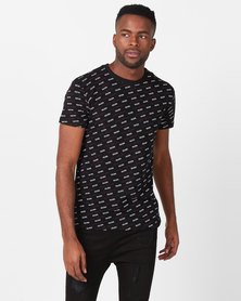 Golden Equation Brand Carrier Print T-shirt  Black