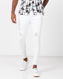 Golden Equation Skinny Distresses Denim Jeans White