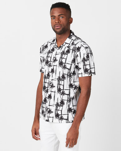 Golden Equation Abstract Palm Print Shirt White