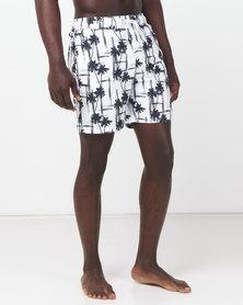 Golden Equation Palm Print Swim Shorts White