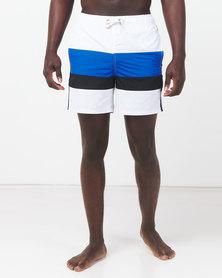 Golden Equation Striped Swim Shorts White