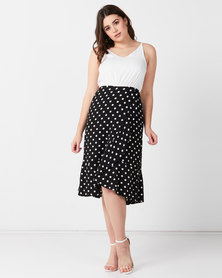 AX Paris 2 In 1 Polka Dot Frill Hem Dress Black