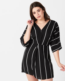 AX Paris Striped Wrap Mini Dress Black and White