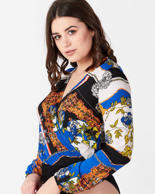 AX Paris Printed Wrap Bodysuit Blue