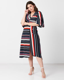 AX Paris Block Colour Stripe Midi Dress Multi