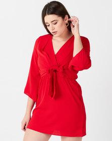 AX Paris Tie Front Day Dress Red