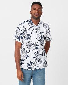 D-Struct Pineapple Short Sleeve Shirt White