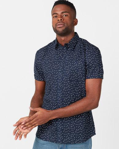 D-Struct Ditzy Printed Short Sleeved Shirt Navy
