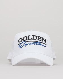 Golden Equation Mens Mesh Trucker Cap White