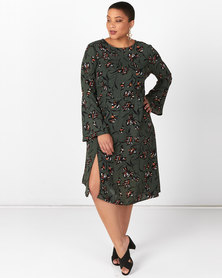 Brave Soul Plus Size Asymmetric Dress With Bell Forest Green