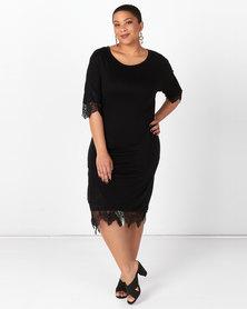 Brave Soul Plus Size Dress With Lace Hem And Cuff Black