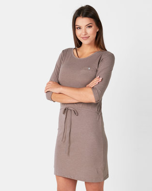 Utopia Taupe Basic T-Shirt Dress Taupe