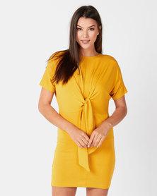 Utopia Tie Front Knit Dress Mustard