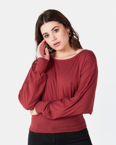 Utopia Batwing Top With Tie Brick Red