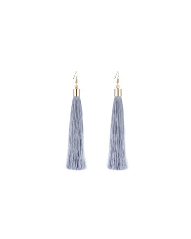 We Heart This Long Grey Tassel Earrings