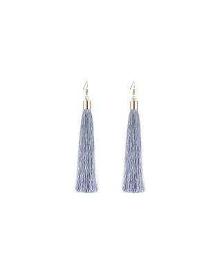 We Heart This Long Grey Tassel Earrings