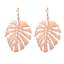 We Heart This Rose Gold Large Monstera Earrings
