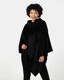 Blu Spiral Poloneck Fleece Poncho Black