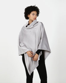Blu Spiral Poloneck Fleece Poncho Grey