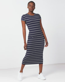 Utopia Basic Knit Dress Navy/White