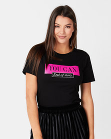 Utopia Slogan Print Tee Black