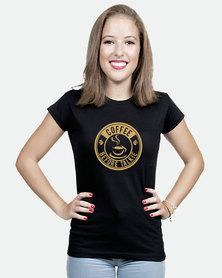 JuiceBubble Coffee Before Talkie Ladies T-Shirt Black
