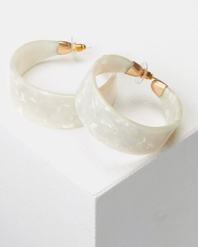 CurAtiv London Resin Hoop Earrings White