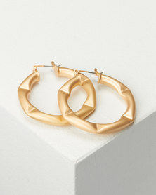 CurAtiv Gold Troy Dented Hoop Earrings