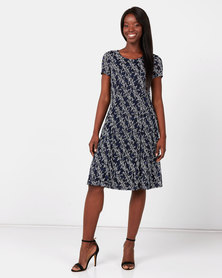 Queenspark Printed Mesh Fit & Flare Knit Dress Navy