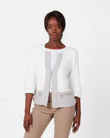 Queenspark Colourblock Edge To Edge Woven Jacket White