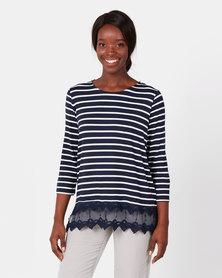 Queenspark Stripe Lace Trim Core Knit Top Navy