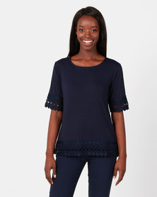 Queenspark Extravagant Lace Core Knit Top Navy