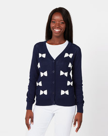 Queenspark Pearl Bow Knitwear Cardigan Navy