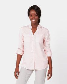 Queenspark Pearl Detail Tencel Shirt Pink